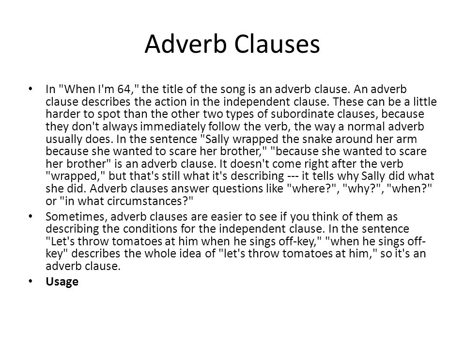 Clauses lesson plan high school