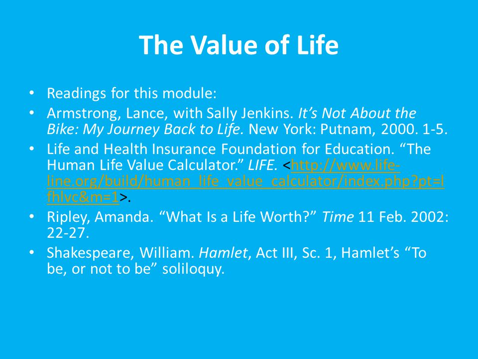 value of life essay amanda ripley Essay: what is the value of a life through out the first semester, we read articles and a play that examine how people value the lives of both humans and non-humans now it is time for your analysis of what you find to be the essential determining factor(s) when it comes to valuing life.