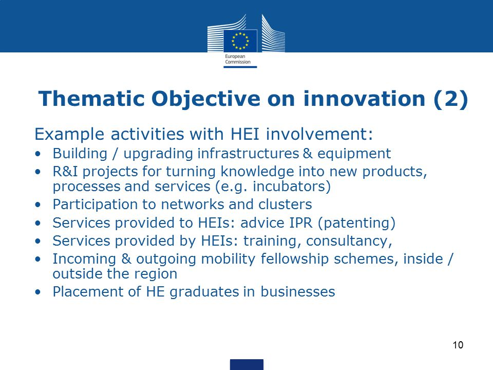 Thematic Objective on innovation (2)