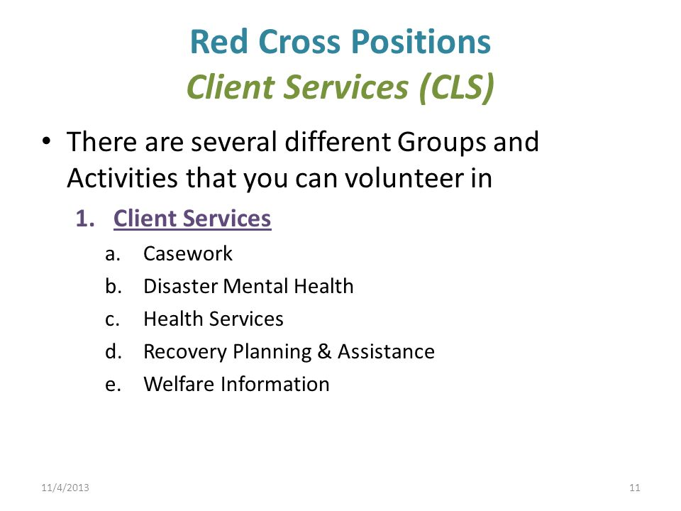 Red Cross Positions Client Services (CLS)