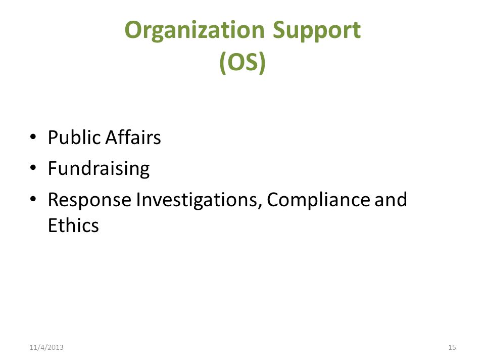 Organization Support (OS)