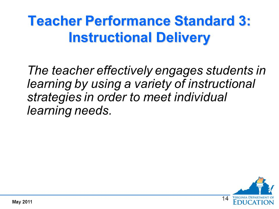 Performance Indicators Examples for Standard 3: Instructional Delivery