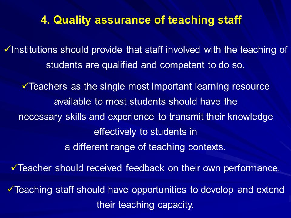 4. Quality assurance of teaching staff