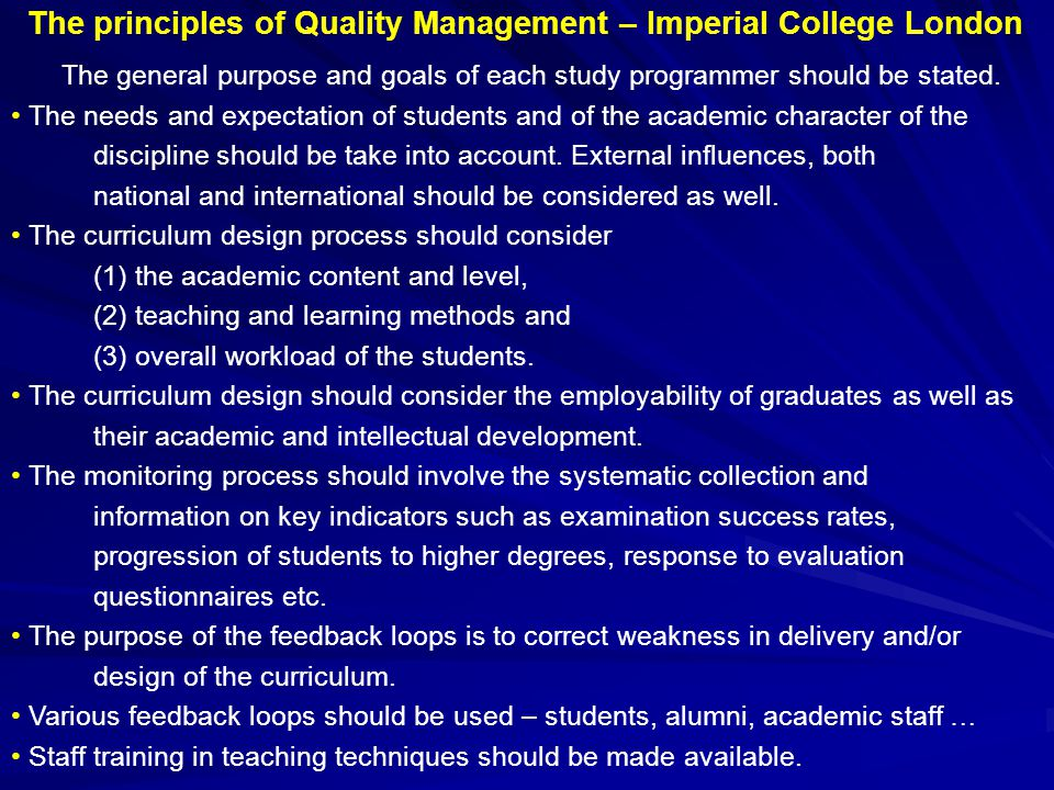 The principles of Quality Management – Imperial College London