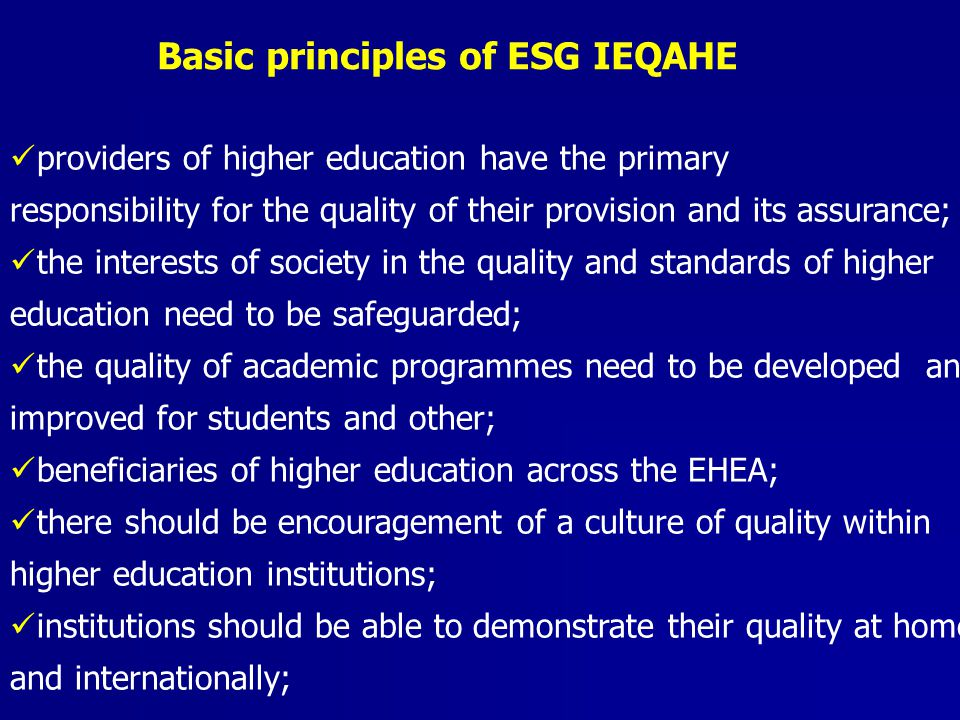 Basic principles of ESG IEQAHE