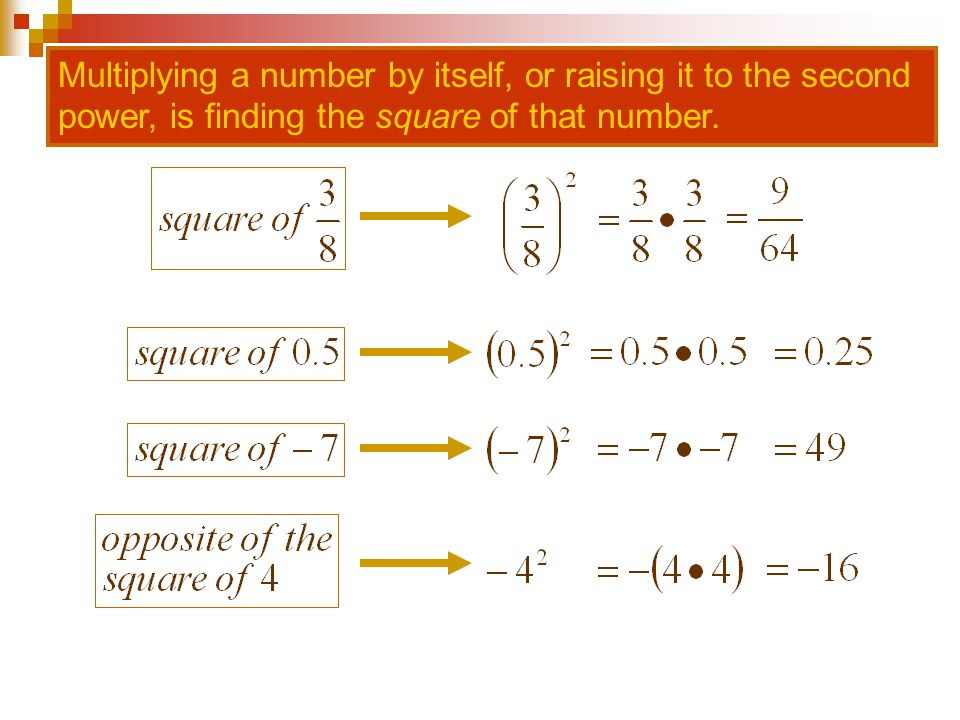 Multiplying a number by itself, or raising it to the second power, is finding the square of that number.