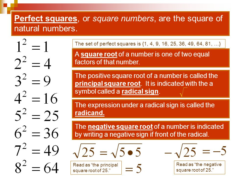 Perfect squares, or square numbers, are the square of natural numbers.
