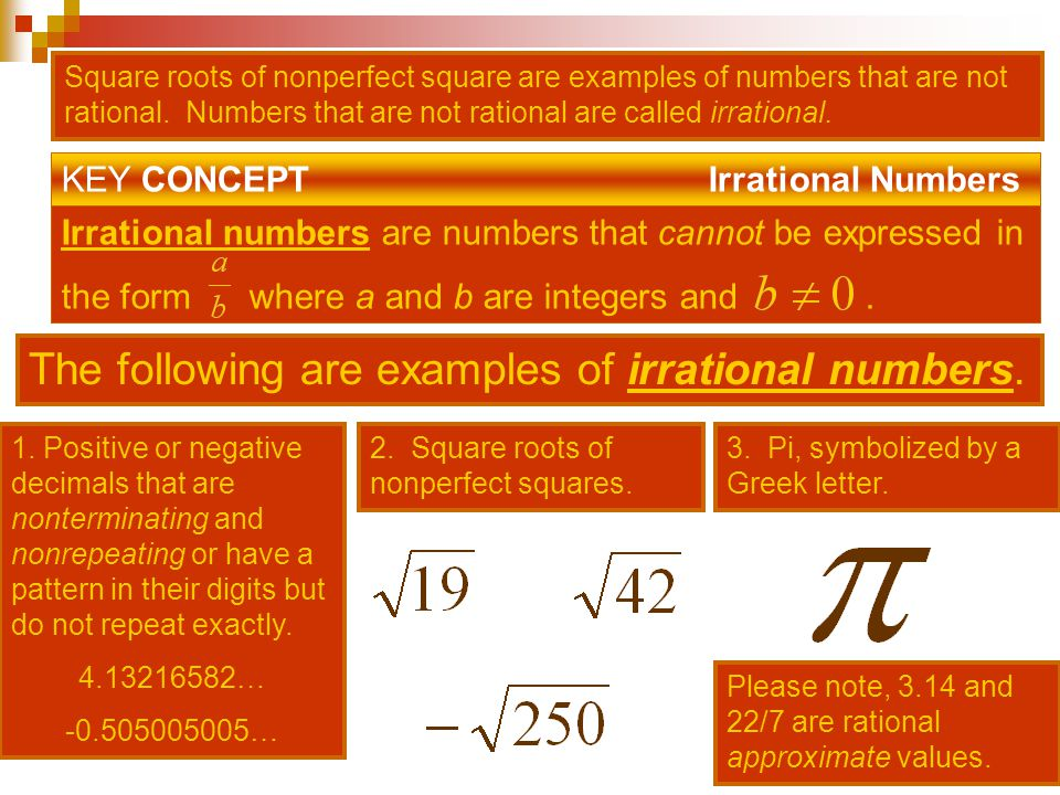 The following are examples of irrational numbers.