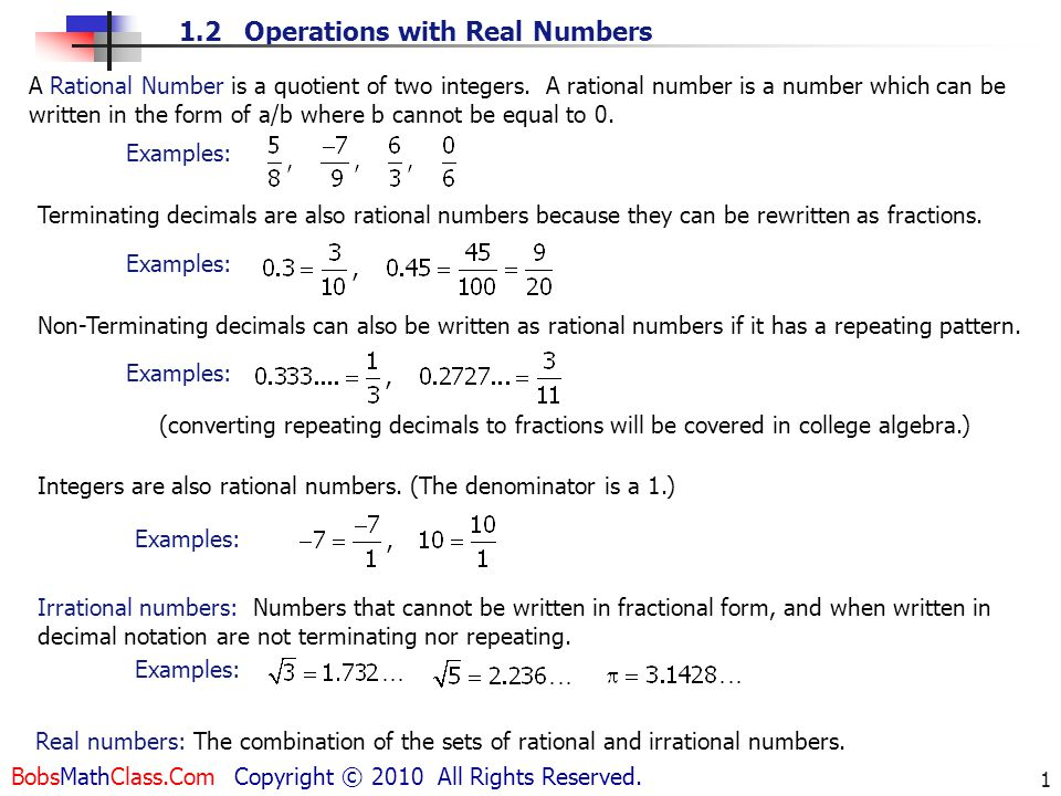 types of real numbers pdf