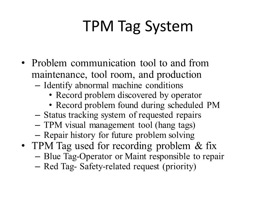 INTRODUCTION TO TOTAL PRODUCTIVE MAINTENANCE (TPM) - ppt video ...