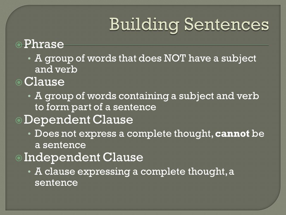Building Sentences Phrase Clause Dependent Clause Independent Clause