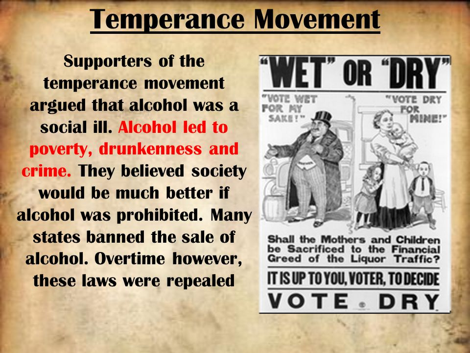 an overview of the temperance movement of the 1800s