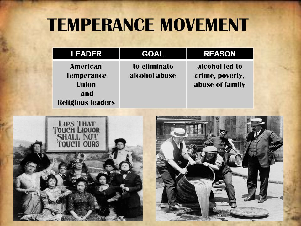 the plight of the temperance movement in america (american history 101) criticism about temperance reformers the temperance movement caused the people of america to think more about individual choices and responsibilities during the course of the 1800's, temperance led to individualism in the fields of philosophy, politics, and economics.