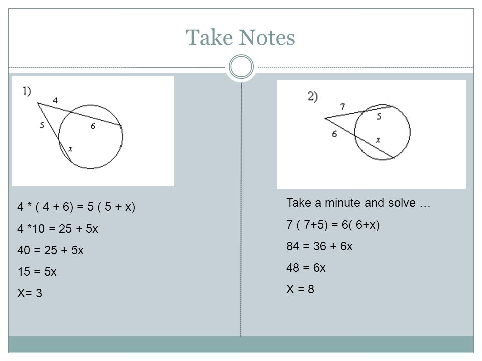 Take Notes Take a minute and solve … 4 * ( 4 + 6) = 5 ( 5 + x)