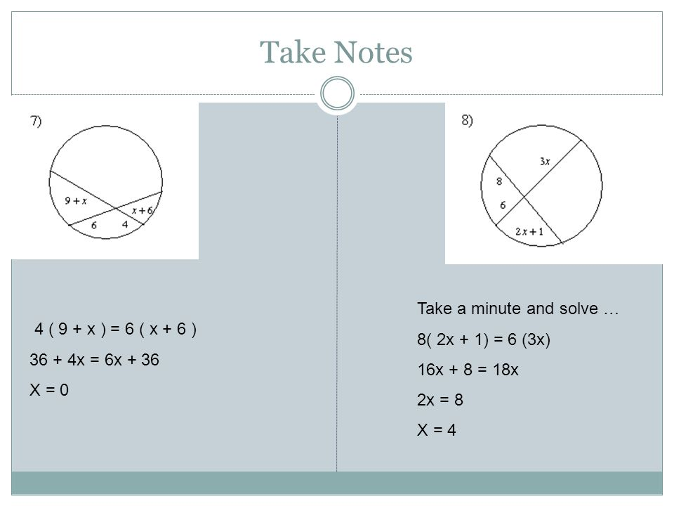 Take Notes Take a minute and solve … 8( 2x + 1) = 6 (3x)