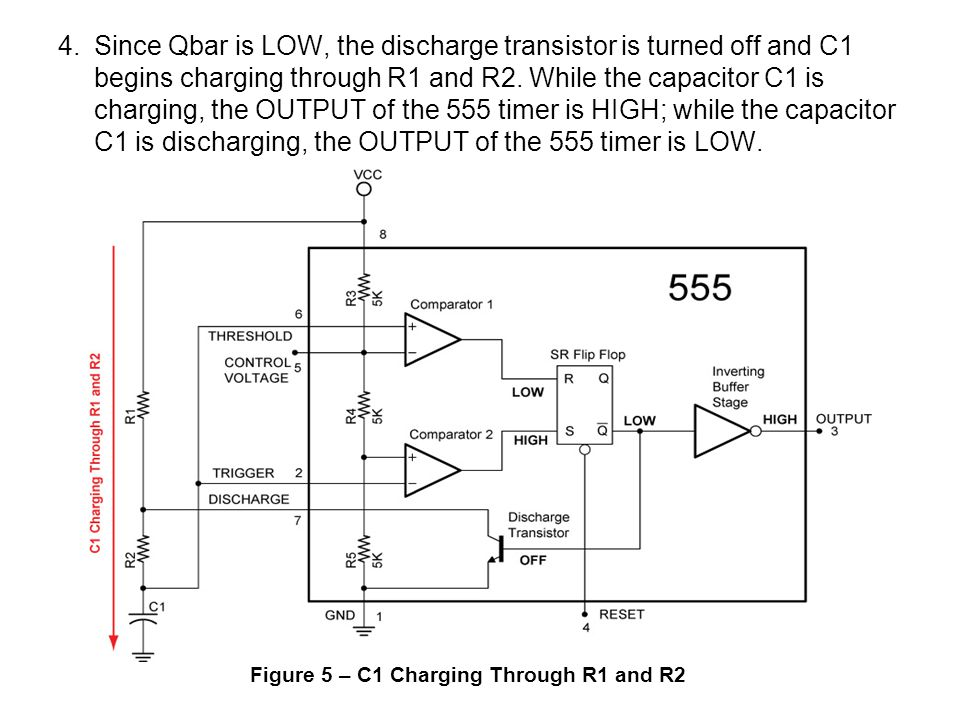 4. Since Qbar is LOW, the discharge transistor is turned off and C1 begins charging through R1 and R2. While the capacitor C1 is charging, the OUTPUT of the 555 timer is HIGH; while the capacitor C1 is discharging, the OUTPUT of the 555 timer is LOW.