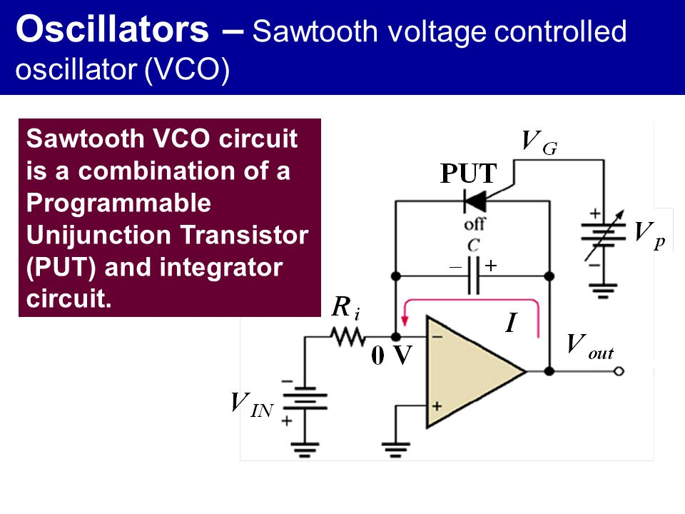 Oscillators – Sawtooth voltage controlled oscillator (VCO)