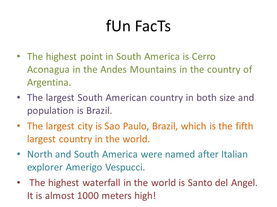 Seven continents by kelly mcclure ppt video online download for Interesting fact about america