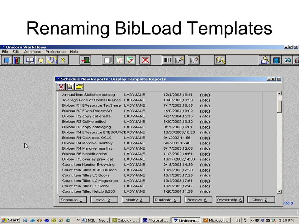 Renaming BibLoad Templates
