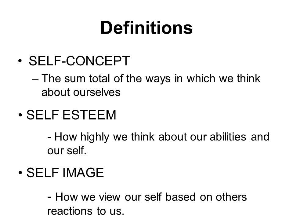 Definitions SELF-CONCEPT SELF ESTEEM SELF IMAGE