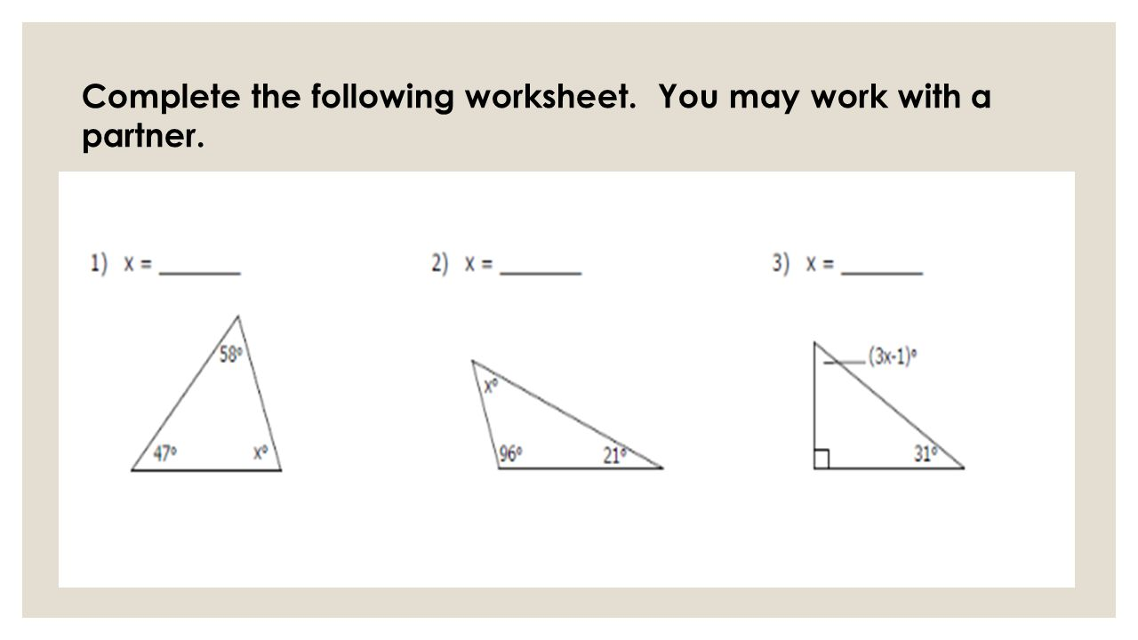 worksheet Angles And Parallel Lines Worksheet triangles discovery lesson exterior angles of a triangle equal 11 complete the following worksheet you may work with partner