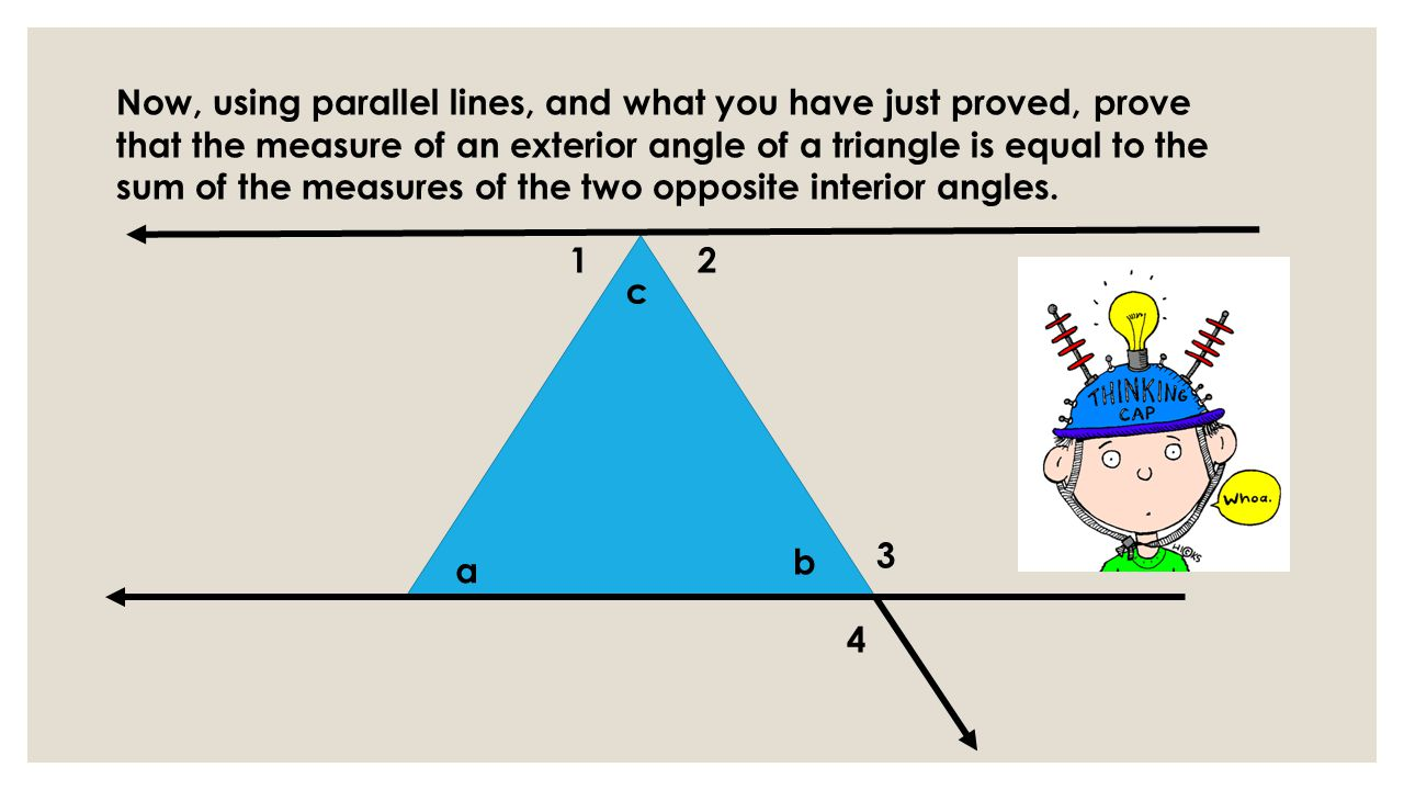 Measure Of An Angle : Triangles discovery lesson exterior angles of a triangle