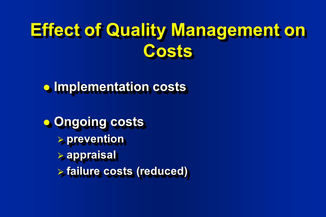 effects of quality management on southwest - southwest airlines began in 1967 as air southwest  benchmarking effects all aspects of management,  the total quality management model is.