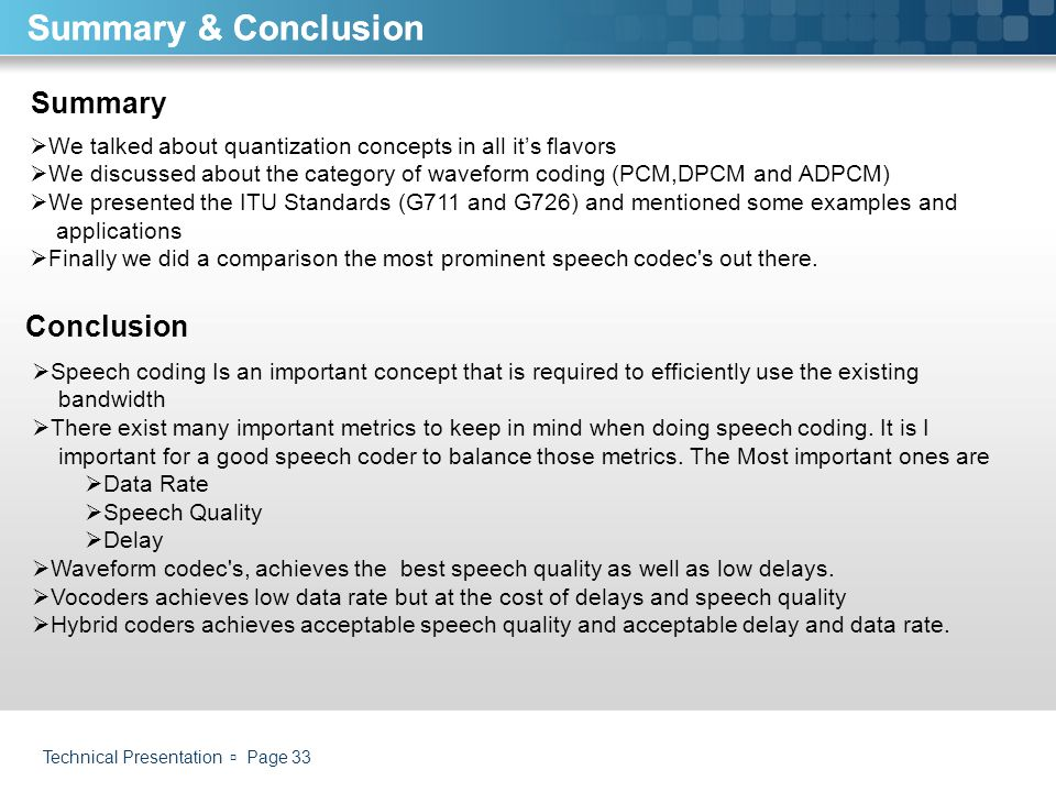 Summary & Conclusion Summary & Conclusion Summary Conclusion
