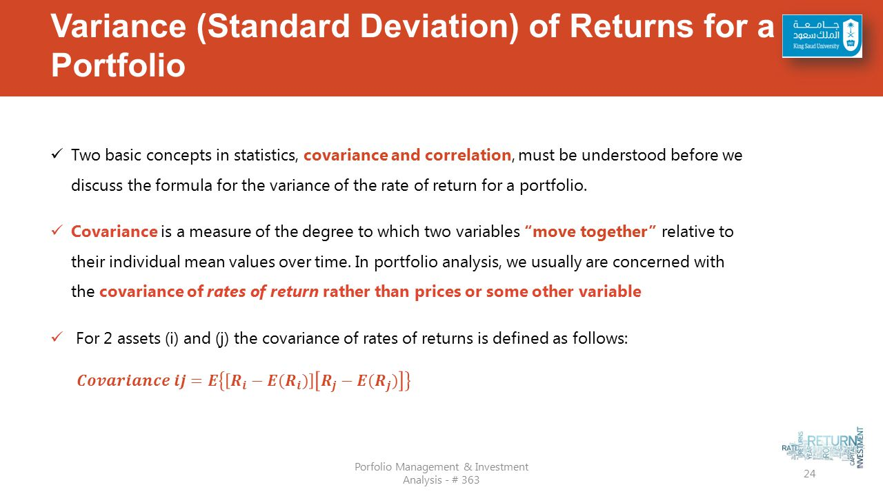 Variance (standard Deviation) Of Returns For A Portfolio How To Calculate