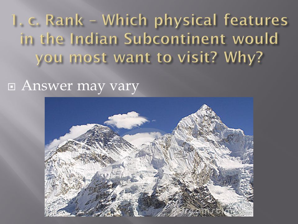 1. c. Rank – Which physical features in the Indian Subcontinent would you most want to visit Why