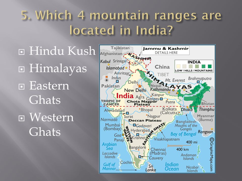 5. Which 4 mountain ranges are located in India