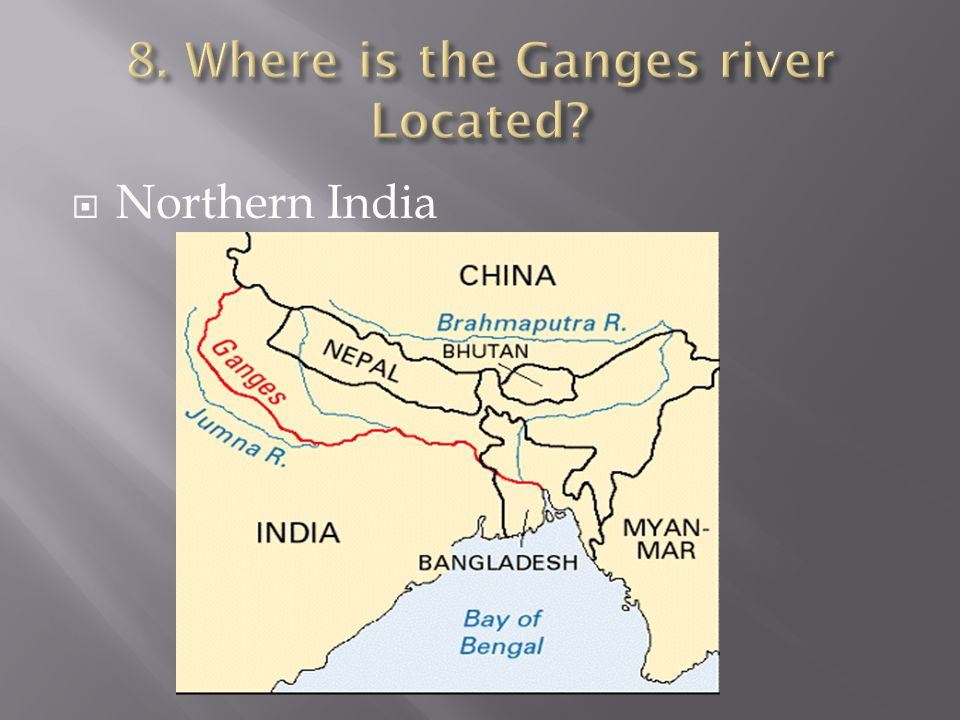 8. Where is the Ganges river Located