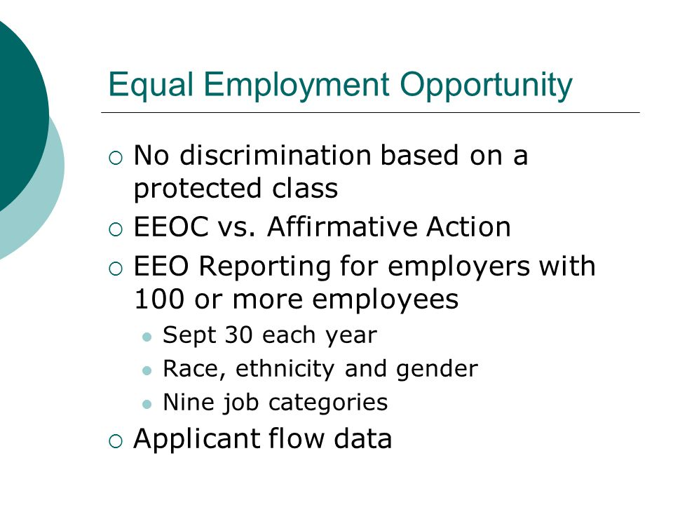 affirmative action vs equal opportunity Related to affirmitive action: affirmative action plan  past discrimination through  active measures to ensure equal opportunity, as in education and employment.