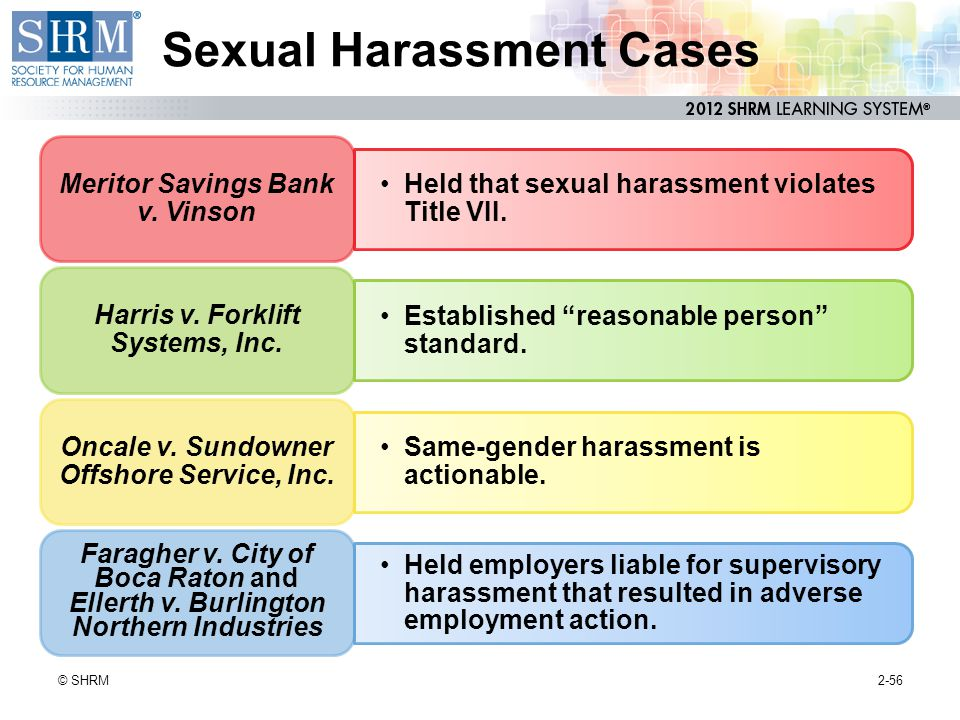 1998 same sex sexual harrassment oncale