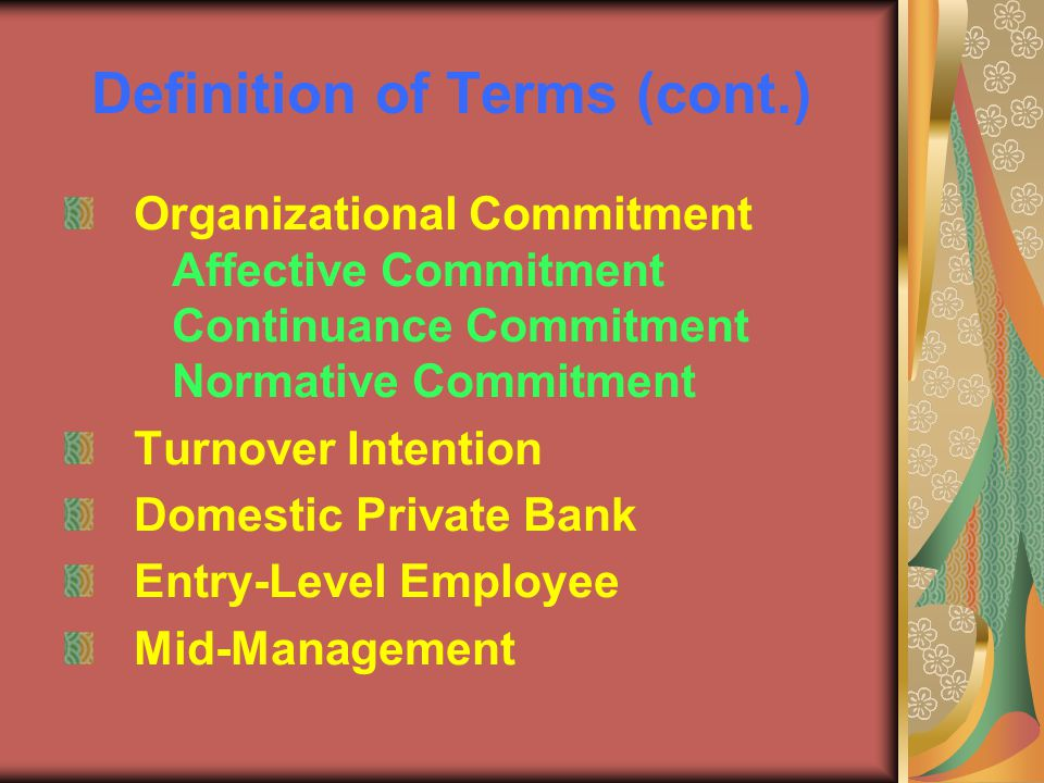 affective normative and continuance commitment levels Increasing organizational commitment: an empirical research  commitment, affective commitment, continuance  influence continuance and normative commitment.