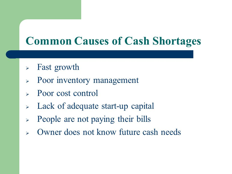 Common Causes of Cash Shortages