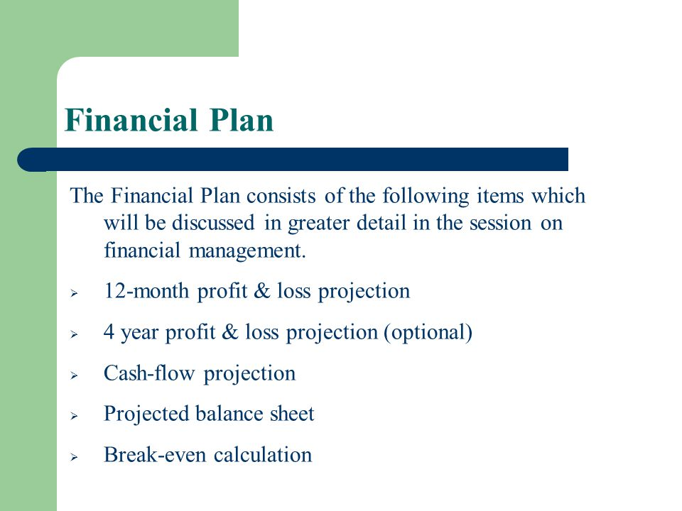 Financial Plan The Financial Plan consists of the following items which will be discussed in greater detail in the session on financial management.