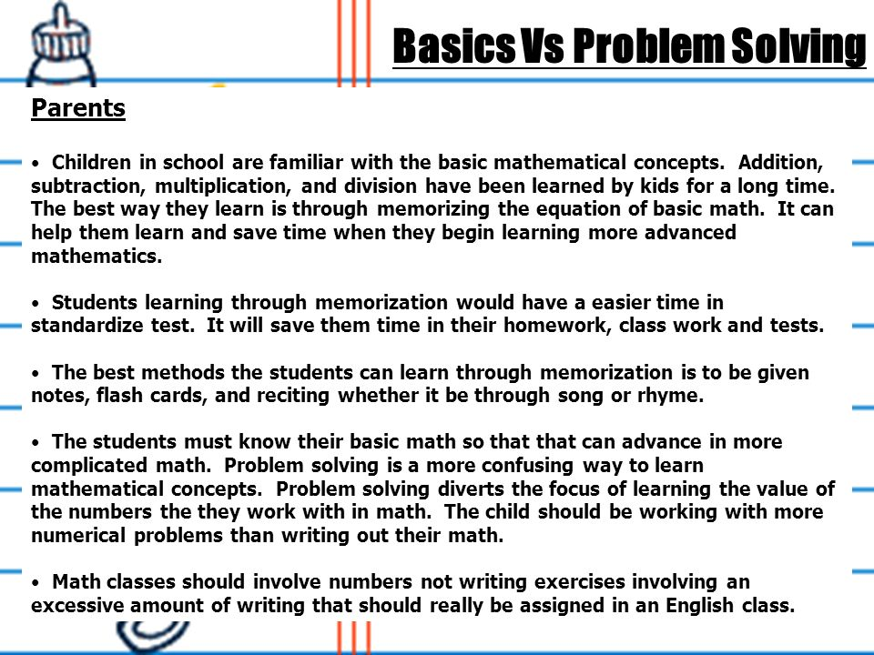 solving math vs comprehension Effect of teaching comprehension strategies on improving math problem solving skills in a title i school.