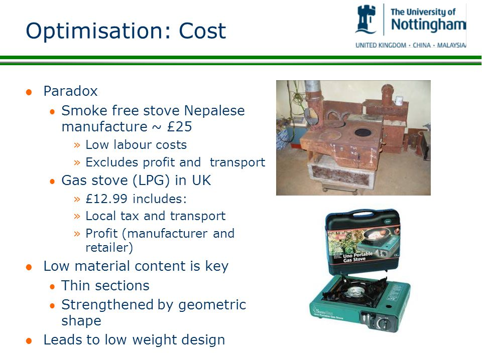 Optimisation: Cost Paradox Smoke free stove Nepalese manufacture ~ £25