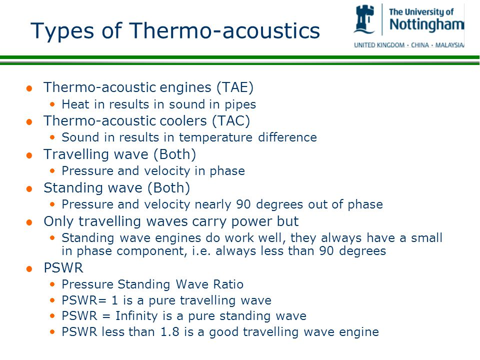 Types of Thermo-acoustics