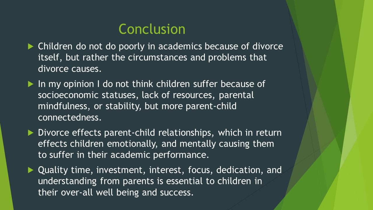 cause and effects of divorce The causes and effects of divorce essay  although, these are three cause of divorce, the effects can be both negative and show more related essay on causes.