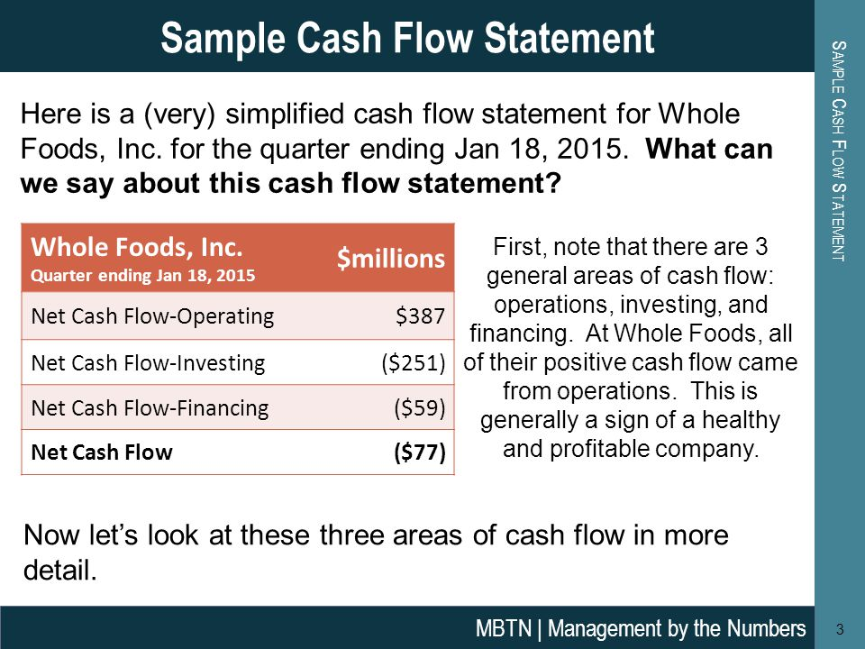 Whole Foods Cash Flow Statement
