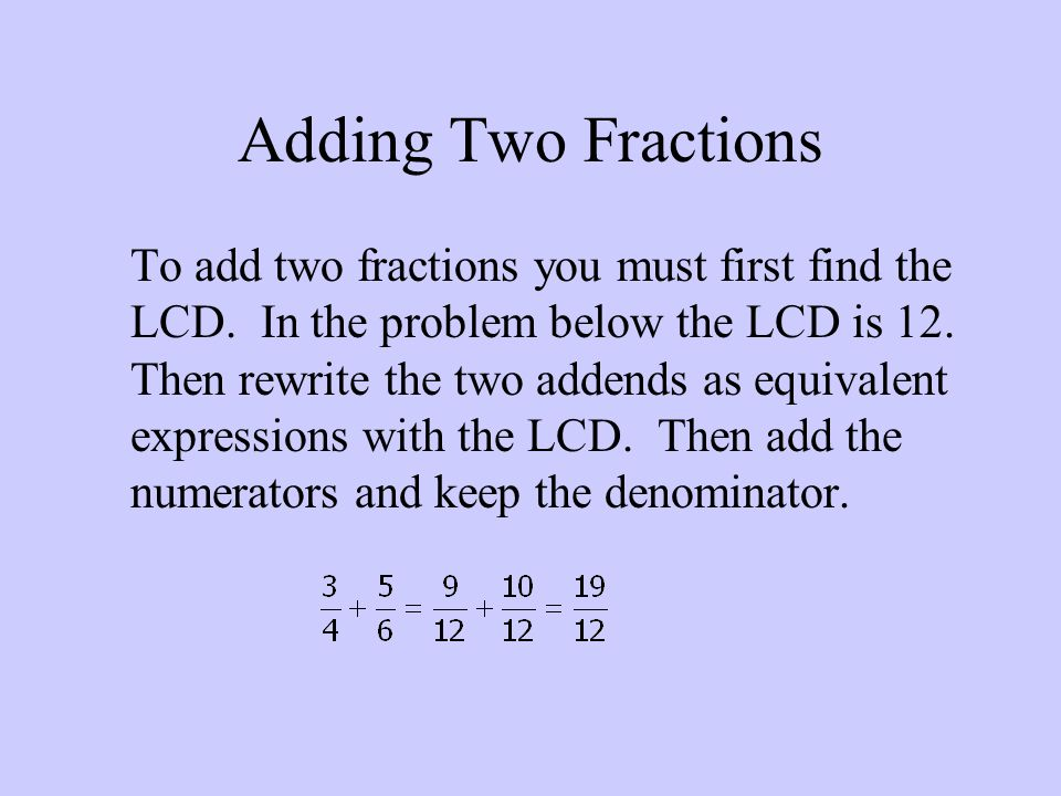 Adding Two Fractions