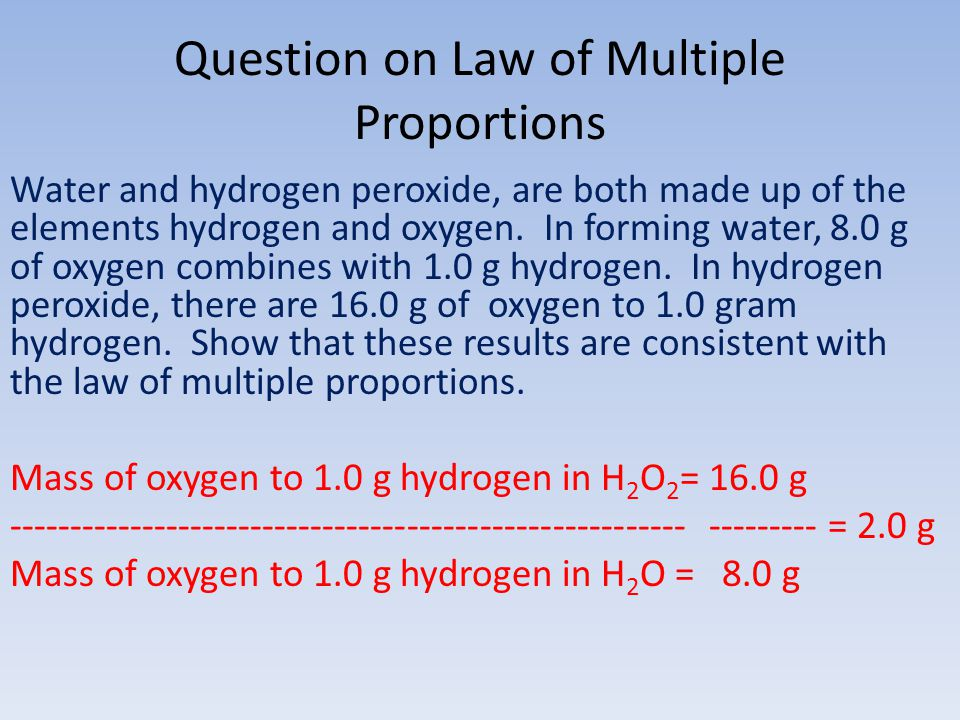 Question on Law of Multiple Proportions