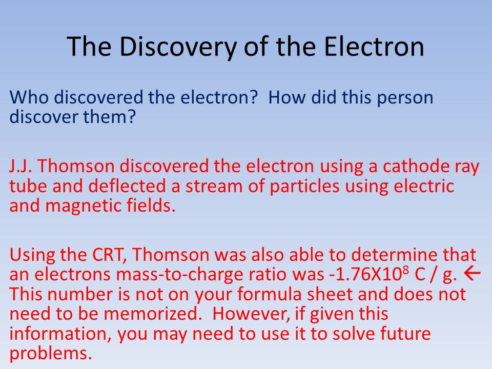 The Discovery of the Electron