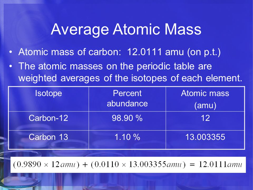 Atoms the building blocks of matter ppt video online download 8 average atomic mass atomic mass of carbon 120111 amu on pt the atomic masses on the periodic table are urtaz Choice Image