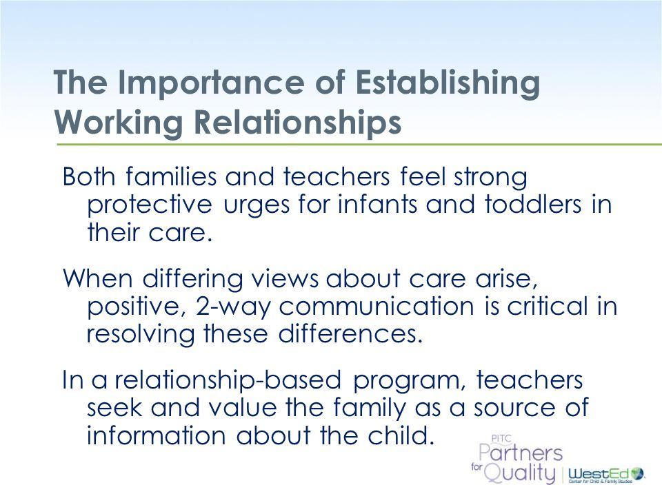 the importance of positive relationships Why are positive teacher-child relationships important research has suggested that teacher-child relationships play a significant role in influencing young children's social and emotional.