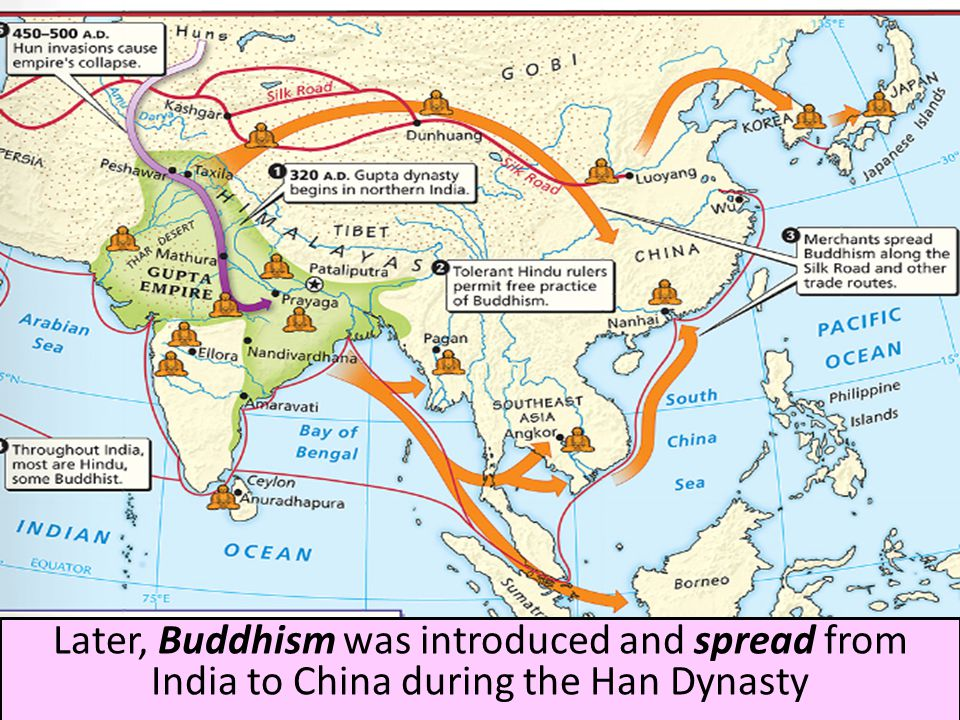 a history of the spread of buddhism in china after the fall of the han dynasty Han dynasty: han dynasty, the chinese history several forms of plucked string instruments were in use during the han buddhism came to china from india.