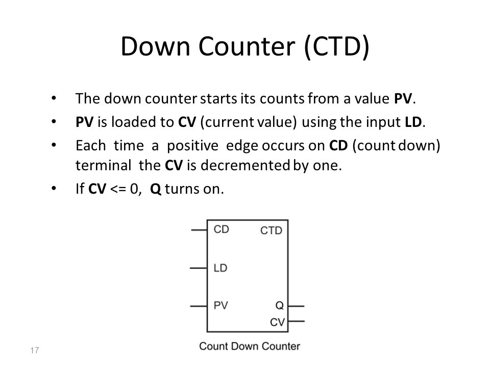 Down Counter (CTD) The down counter starts its counts from a value PV.