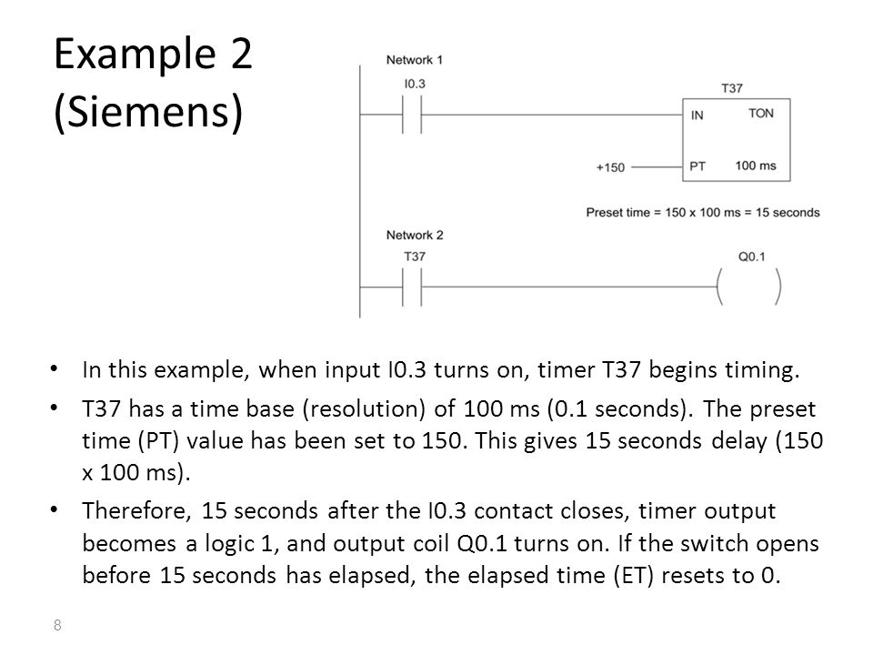 Example 2 (Siemens) In this example, when input I0.3 turns on, timer T37 begins timing.